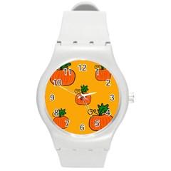 Thanksgiving pumpkins pattern Round Plastic Sport Watch (M)