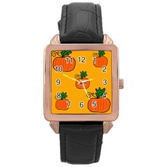 Thanksgiving pumpkins pattern Rose Gold Leather Watch