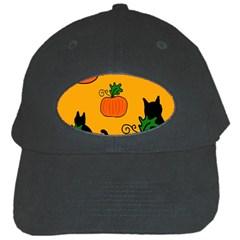 Halloween pumpkins and cats Black Cap