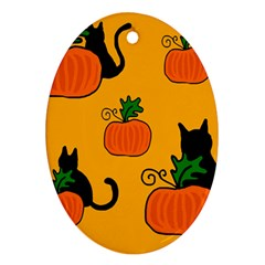 Halloween pumpkins and cats Ornament (Oval)