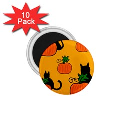 Halloween pumpkins and cats 1.75  Magnets (10 pack)