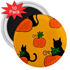 Halloween pumpkins and cats 3  Magnets (10 pack)