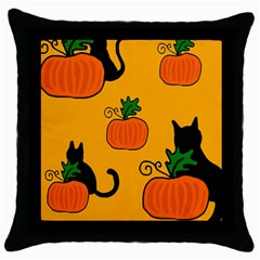 Halloween pumpkins and cats Throw Pillow Case (Black)