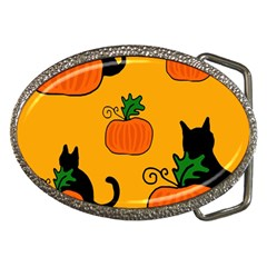 Halloween pumpkins and cats Belt Buckles