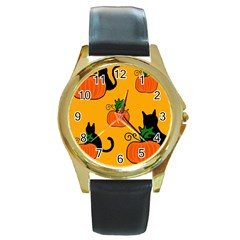 Halloween pumpkins and cats Round Gold Metal Watch