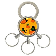 Halloween pumpkins and cats 3-Ring Key Chains