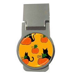 Halloween pumpkins and cats Money Clips (Round)