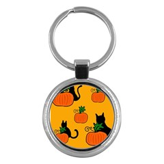 Halloween pumpkins and cats Key Chains (Round)