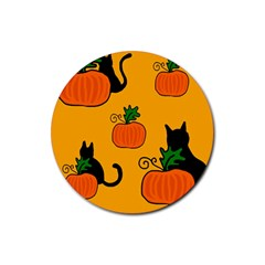Halloween pumpkins and cats Rubber Coaster (Round)