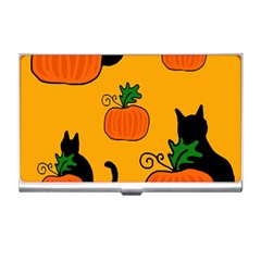 Halloween pumpkins and cats Business Card Holders