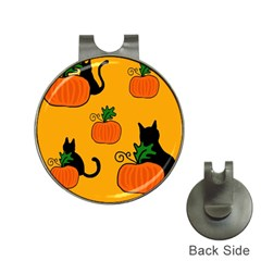 Halloween pumpkins and cats Hat Clips with Golf Markers