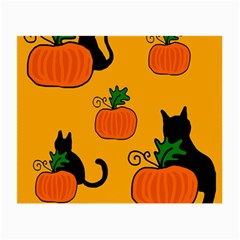 Halloween pumpkins and cats Small Glasses Cloth