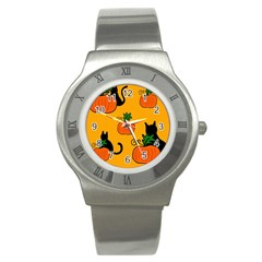 Halloween pumpkins and cats Stainless Steel Watch