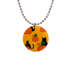 Halloween pumpkins and cats Button Necklaces