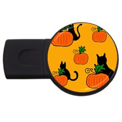 Halloween pumpkins and cats USB Flash Drive Round (4 GB)