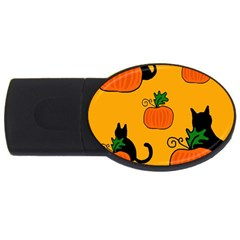 Halloween pumpkins and cats USB Flash Drive Oval (4 GB)
