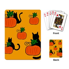 Halloween pumpkins and cats Playing Card