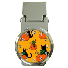 Halloween pumpkins and cats Money Clip Watches