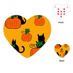 Halloween pumpkins and cats Playing Cards (Heart)