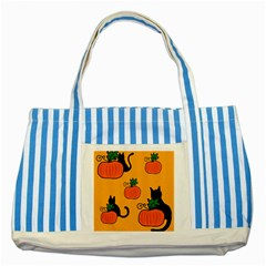 Halloween pumpkins and cats Striped Blue Tote Bag