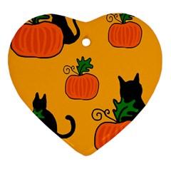 Halloween pumpkins and cats Heart Ornament (2 Sides)