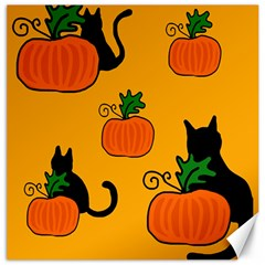 Halloween pumpkins and cats Canvas 16  x 16