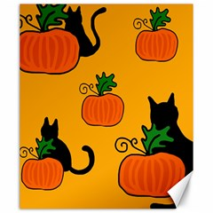 Halloween pumpkins and cats Canvas 20  x 24