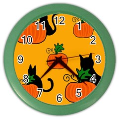 Halloween pumpkins and cats Color Wall Clocks