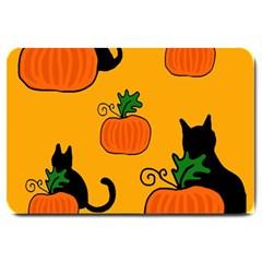 Halloween pumpkins and cats Large Doormat