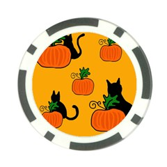 Halloween pumpkins and cats Poker Chip Card Guards