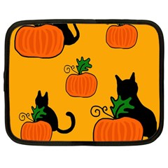 Halloween pumpkins and cats Netbook Case (Large)