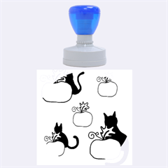 Halloween pumpkins and cats Rubber Round Stamps (Large)