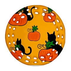 Halloween pumpkins and cats Ornament (Round Filigree)