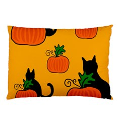 Halloween Pumpkins And Cats Pillow Case (two Sides)