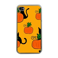 Halloween pumpkins and cats Apple iPhone 4 Case (Clear)