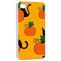 Halloween pumpkins and cats Apple iPhone 4/4s Seamless Case (White)