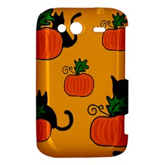 Halloween pumpkins and cats HTC Wildfire S A510e Hardshell Case