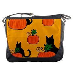 Halloween pumpkins and cats Messenger Bags