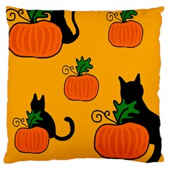 Halloween pumpkins and cats Large Cushion Case (Two Sides)