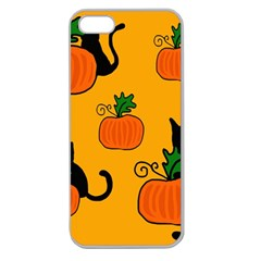 Halloween pumpkins and cats Apple Seamless iPhone 5 Case (Clear)