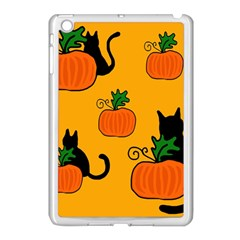 Halloween pumpkins and cats Apple iPad Mini Case (White)