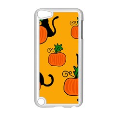 Halloween pumpkins and cats Apple iPod Touch 5 Case (White)