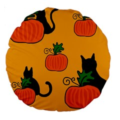 Halloween pumpkins and cats Large 18  Premium Round Cushions