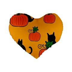 Halloween pumpkins and cats Standard 16  Premium Heart Shape Cushions