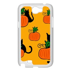 Halloween pumpkins and cats Samsung Galaxy Note 2 Case (White)