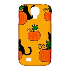 Halloween pumpkins and cats Samsung Galaxy S4 Classic Hardshell Case (PC+Silicone)