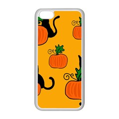 Halloween pumpkins and cats Apple iPhone 5C Seamless Case (White)