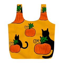 Halloween pumpkins and cats Full Print Recycle Bags (L)
