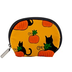 Halloween pumpkins and cats Accessory Pouches (Small)