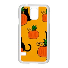 Halloween pumpkins and cats Samsung Galaxy S5 Case (White)